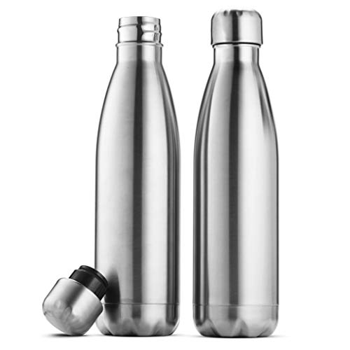 Triple-Insulated Stainless Steel Water Bottle (set of 2) 17 Ounce, Sleek Insulated Water Bottles, Keeps Hot and Cold, 100% Leakproof Lids, Sweatproof Water Bottles, Great for Travel, Picnic& Camping.