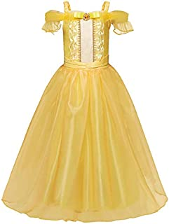 Beauty and the Beast Belle Same Style Children's Costume Dress - Elegant Yellow Pincess Dress for Girls - Performance Dress - 8-10 Years