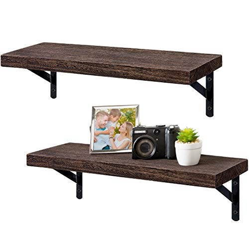 Dahey Wall Mounted Floating Shelves Set of 2 Rustic Wood Wall Shelves Display Ledge Storage Rack 17 inch for Bedroom Living Room Bathroom Kitchen Office,Brown