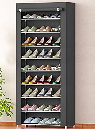 Zemic International Quality 9-Tiers Shoe Rack/Multipurpose Portable Folding Storage Rack Organizer Cabinet Tower with Dustproof Cover 9 Shelves, Grey (Iron and Nonwoven)