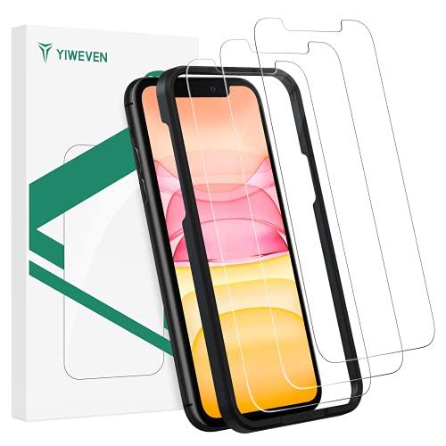 """YIWEVEN [3-Pezzi] Pellicola Vetro Temperato per iPhone 11/XR - HD Durezza 9H Pellicola Protettiva Schermo per iPhone XR/11 6.1"""" [Anti-graffio, Anti-Impronta, Senza Bolle and Facile Installazione]"""