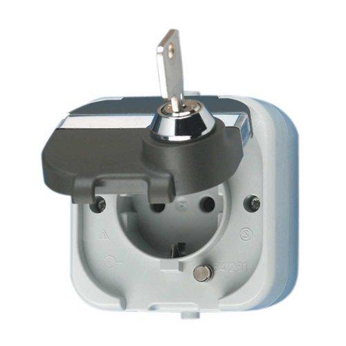 REV Ritter 0510224555 AquaTop Feuchtraum-Steckdose mit Sicherheits-Schloss IP44 | Aufputz-Montage | grau/dunkelgrau