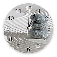 禅石印刷壁掛け時計家の装飾ミュートラウンド壁掛け時計家のリビングルームキッチン壁の装飾 25x25cm