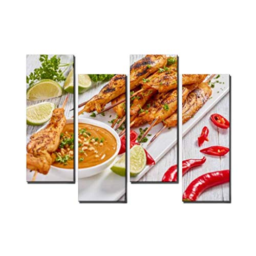 Wocatton Chicken satay with Tasty Peanut Sauce Wall Art Background Decor Pictures Print On Canvas Art Stretched and Framed Perfect Home Decoration