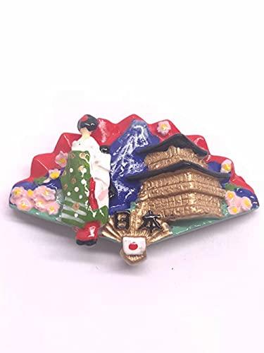 Atracciones turísticas japonesas de recuerdo, vestido japonés, Shaler de resina social para frigorífico, adhesivo decorativo para ventilador