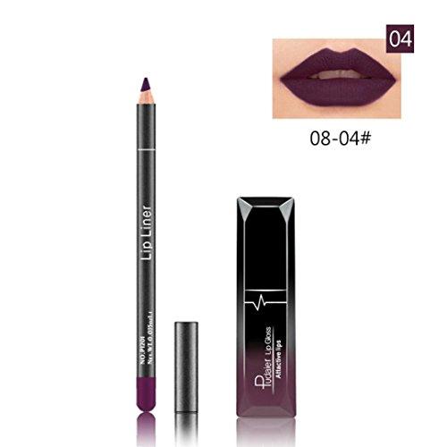 Huihong PUDAIER 12 Farben Langlebig Lippenstift Wasserdicht Matt Flüssigen Glanz + Lipliner Kosmetik-Set (08-04#)
