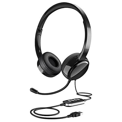 Kids USB Headphones with Microphone for School, Noise Cancelling 3.5mm Computer Headsets for Children with Volume Control, Wired On-Ear Headset for iPad/Chromebook/Cell Phone
