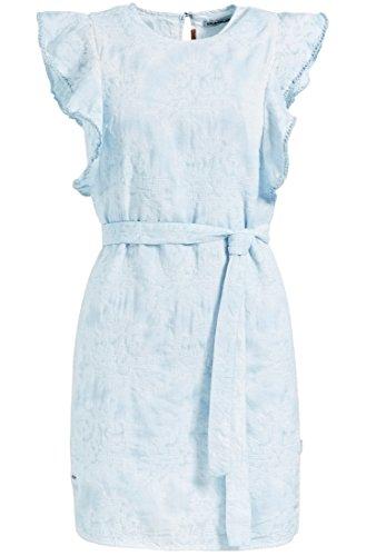 khujo Damen Kleid TEKLA aus Baumwolle mit All-Over-Stickerei kurzes Sommerkleid mit Volant am Armausschnitt Minikleid mit Gürtel