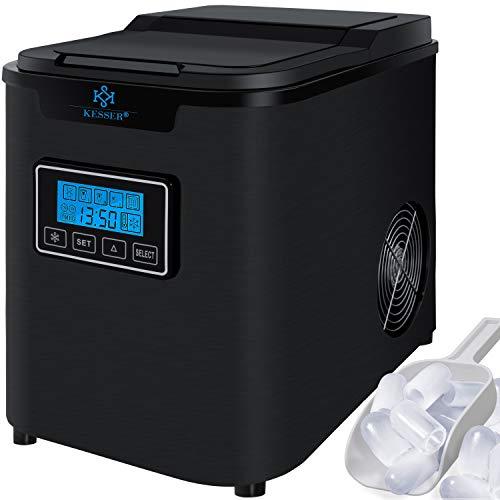 KESSER® Eiswürfelbereiter | Eiswürfelmaschine Edelstahl | 150W Ice Maker | 12 kg 24 h | 3 Würfelgrößen | Zubereitung in 6 min | 2,2 Liter Wassertank | Timer | LCD-Display | Selbstreinigungsfunktion