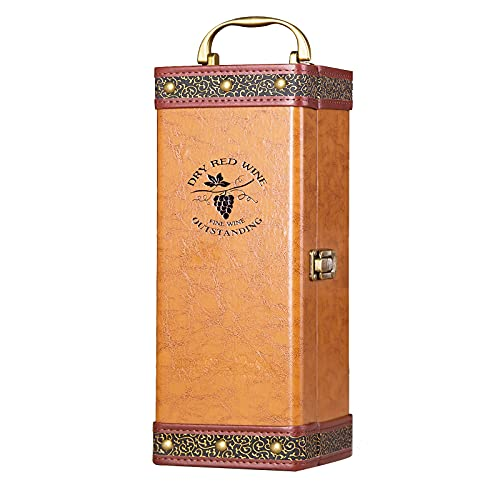 AIZYR Portabotellas De Champán De Vino De Piel Sintética - Caja De Almacenamiento De Viaje De Madera Estuche De Regalo De Vino De Boda Creativo,A
