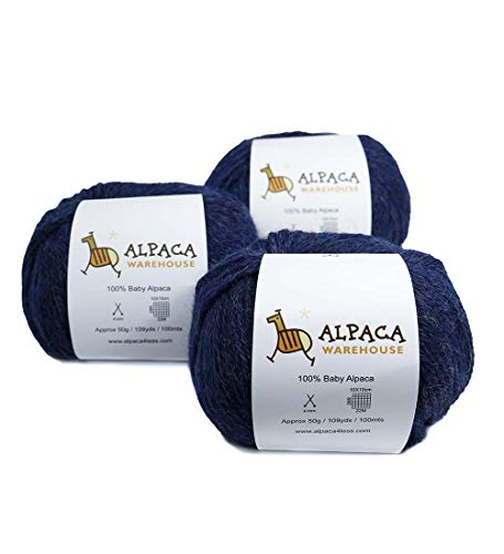 100% Baby Alpaca Yarn Wool Set of 3 Skeins Lace Worsted Bulky/Chunky Weight - Heavenly Soft and Perfect for Knitting and Crocheting (Blue Jean, Worsted Weight) 4 Ply Wool Yarn