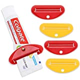 Juvale 12-Pack Toothpaste Tube Squeezer Tool, Yellow and Red, 3.5 x 1.5 Inches