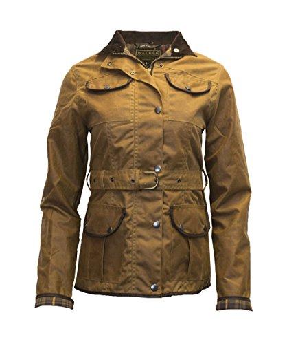 Walker and Hawkes Damen Jacke gewachst - Gürtel & 4 Taschen - Beige - Größe EU 46 (UK 18)