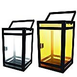 Techko STL-204 Solar Portable Lantern - Amber or White (Clear Panel), Black