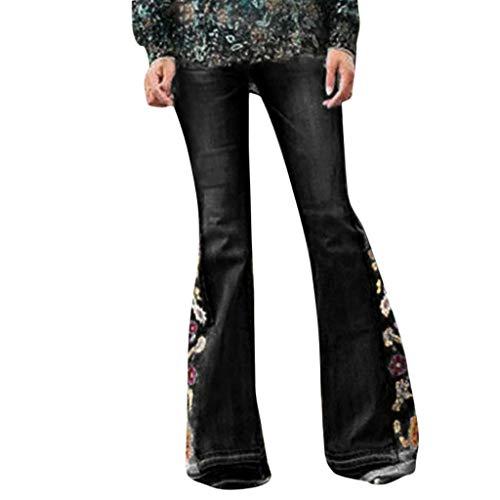 MOTOCO Damen Jeans Hosen hoch Taillierte Stretch Slim Hosen Blumendruck Stickerei Boot Cut Hose Länge Hosen(4XL,Schwarz)