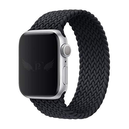 Pulseira Trançada Infinito compatível com Apple Watch 44mm Series 6 - Apple Watch 42mm Series - Marca LTIMPORTS (Preto - Tamanho [M] (143 até 180mm))