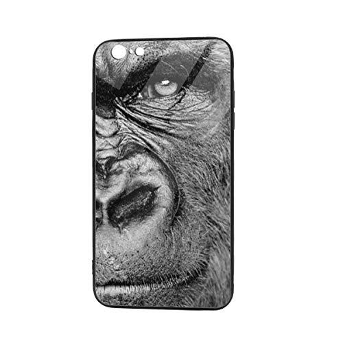 Weretlyop Monkeys Animal Gorilla Black Cool Soft TPU Raised Edge Accurate Cutouts Thin Cover Case iPhone 6/6s Plus TPU Glass Phone Case
