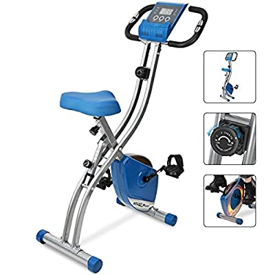 Wonder Maxi Folding Magnetic Exercise Bike, Upright Recumbent Stationary Exercise Bike, Indoor Cycling Bike with Pulse Sensor LCD Monitor Phone Holder for Cardio Workout and Strength Training (blue)