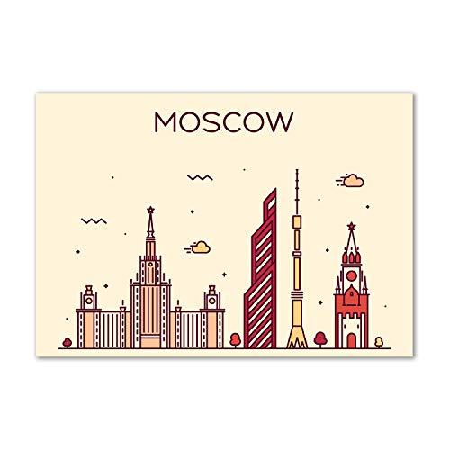 Tulup - Spritzschutz aus Glas für die Küche - 100x70 cm - Küchenrückwand - Küche Herd Wandanbringung Küchenrückwand aus Echtglas Memoboard - Landkarten und Flaggen - Moskauer Gebäude