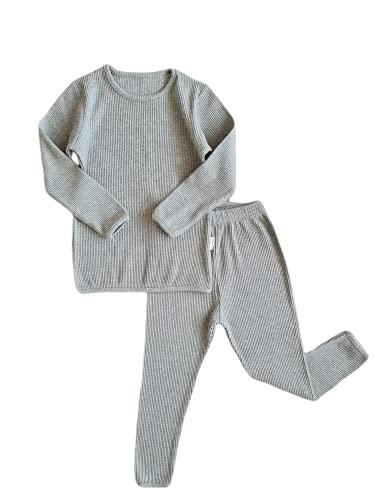 Conjunto Algodon Dos Piezas, Pijamas para Bebe,niñas,niños,Pantalones y Manga Larga, Trajes para Bebes, Acanalados, a Rayas, Otoños Invierno, Ropa de Abrigo(6-7 años, Paloma Gris)