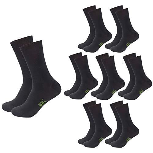 FOOTNOTE 8 Paar Atmungsaktive Bambus Socken Herren Damen, schwarz, Größe 39-42
