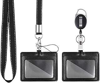 Mczcent 2 Porte Badge, Horizontal Porte-Badges Cuir PU avec 1 Fenêtre D'identification, avec Courroie Lanière Tour de Cou ...