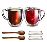 Large Double Wall Insulated Glass Coffee mugs with Lids Set of 2-12 Ounce Clear Cups for Tea Latte Cappuccino Espresso - Includes 2 Wooden Spoons