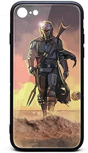 Funda para iPhone 6/iPhone 6s The-Mandalorian-Characters- Unisex diseñador vidrio templado negro anti-arañazos TPU goma parachoques protector trasera