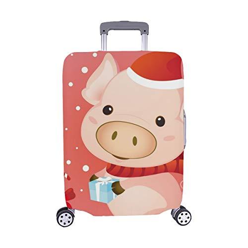 (Solo il parapolvere del bagaglio)cute natale maiale dono schema spandex trolley caso viaggiare bagaglio 28,5 x 20,5 cm copertura protettore valigia