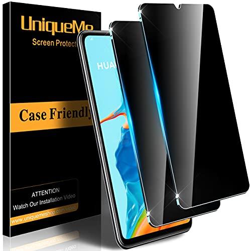 [2 Stück] UnqiueMe Panzerglas Sichtschutz Kompatibel mit Huawei P30 Lite/P30 Lite New Edition Schutzfolie mit Rahmen, Anti-Spy Displayschutz Privacy Gehärtetes Glas Blickschutzfolie