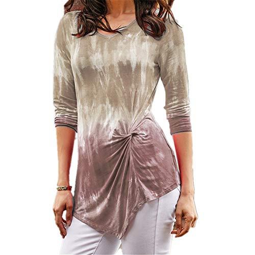Herbst und Winter V-Ausschnitt Damen Tie-Dye-Verlaufsdruck verdreht langärmeliges T-Shirt S-3XL