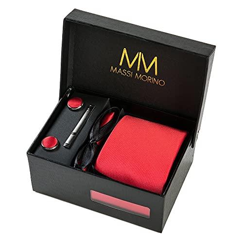 Massi Morino Krawatte mit Einstecktuch I Premium Set inkl. Manschettenknöpfe und Krawattennadel I Herren Geschenkbox (Rot)