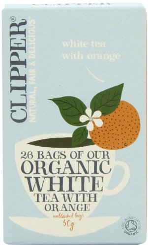 Clipper Organic White Tea with Orange 25 Teabags (Pack of 6, Total 150 Teabags)