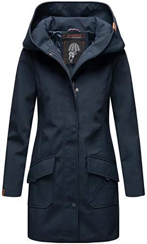 Marikoo Damen Softshell Jacke Winterjacke wasserabweisend Outdoor lang B856 [B856-Maylee-Navy-Gr.S]