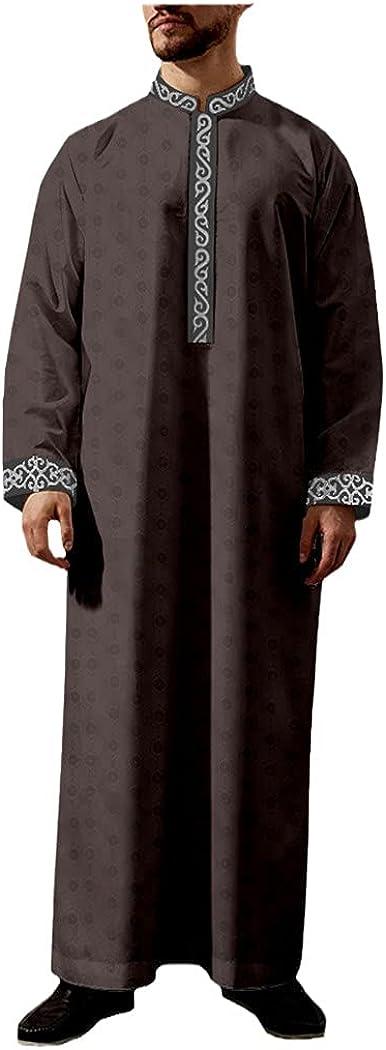 LOIUYBM Men's Jubba Thobe, Muslim Fashion Robe, Long Sleeve Saudi Arab Thobe Jubba, Men Kaftan Islamic Clothing