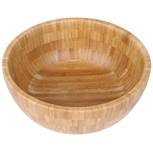 YARNOW Ensalada Cuenco de Bambú Cuenco de Sopa de Madera Contenedor de Alimentos Saludables Cena Vintage Vajilla Accesorios de Cocina (Tamaño Mediano)