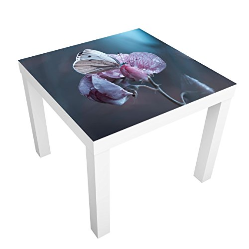 Bilderwelten Table Basse Design - Butterfly in The Rain - 55x55x45cm, Couleur de la Table: Table de Noir, Dimension: 55 x 55 x 45cm