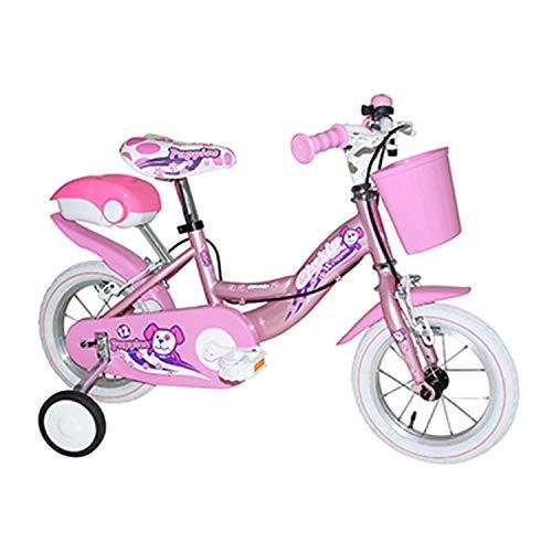 Kinderfiets met 12 rokjes, staal, voor meisjes, roze