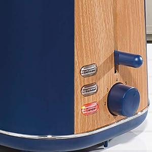 Daewoo Stockholm 2 Slice Wood Effect Toaster - Navy Blue