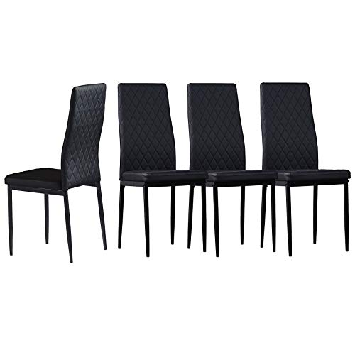 Merax PU Leahter Living Dining Room Chairs with Upholstered Seat and Iron-Sprayed Legs for Kitchen or Bedroom, Mid Century Modern Style, Black Set of 4