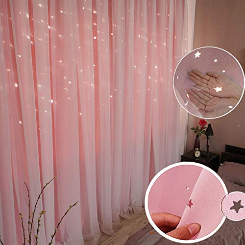 ABREEZE Princess Pink Curtain Hollow-Out Stars Dual Layer Grommet Top Mix and Match Blackout Curtains with White Sheer for Living Girl Room(1 Panel,59 x 63 inch,Pink)