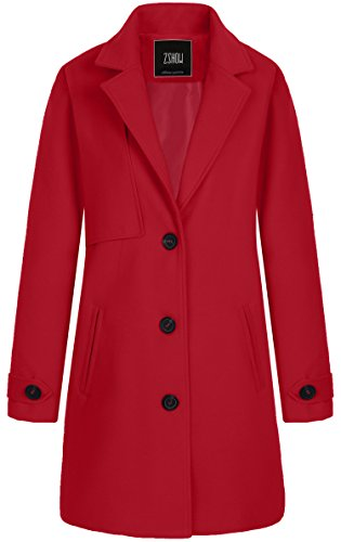 ZSHOW Women's Single Breasted Solid Color Classic Pea Coat (Large, Red)