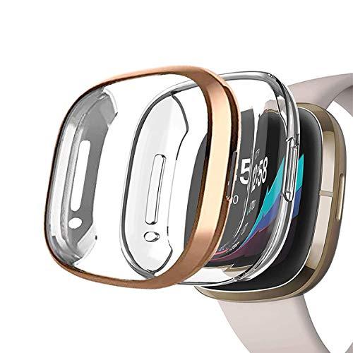 Yaoket [2-Pezzi Case Compatible con Fitbit Versa 3/Sense Smartwatch, TPU Morbido Custodia Protettiva Rugged Cover all-Around Protective Bumper Shell (Oro Rosa/Chiaro)
