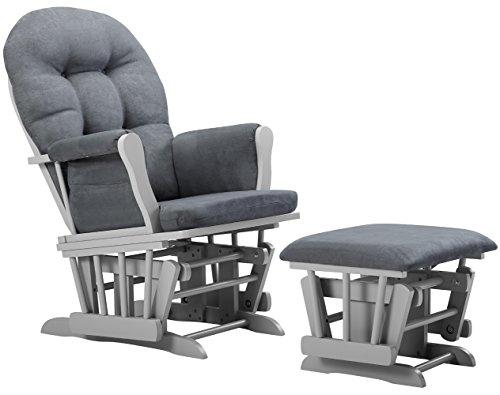 Angel Line Windsor Glider and Ottoman Cushion, Grey/Dark Grey