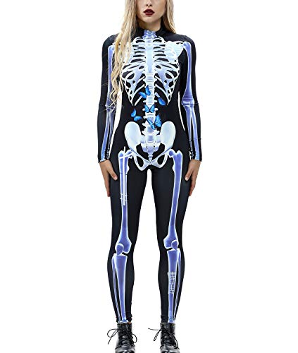 Idgreatim Womens Butterfly Skeleton Costume Zipper Back Long Sleeve Halloween Cosplay Bodycon Catsuit Clothing L