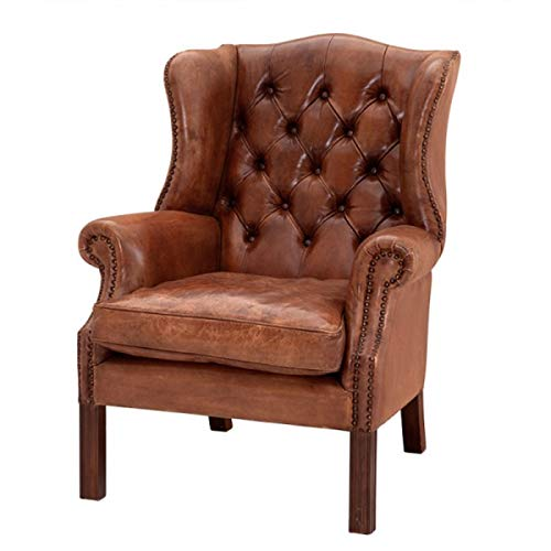 Casa Padrino Luxus Echtleder Ohrensessel Chesterfield Vintage Braun - Sessel mit echtem Leder