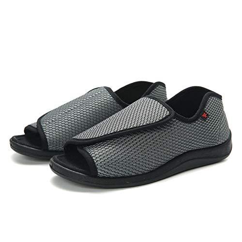 LNLJ - Fijación ajustable para zapatos, zapatos extendidos de tela de malla hinchada de pies grandes, zapatos ajustables de velcro, Gris, 43