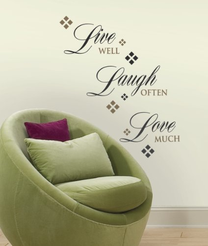 RoomMates RMK1396SCS Live, Love, Laugh Peel & Stick Wall Decals, 22 Count