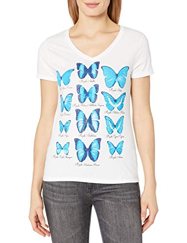 Hanes Butterfly Collection Short-Sleeve V-Neck Graphic Tee (GT9337 Y06594) -Butterfly -M