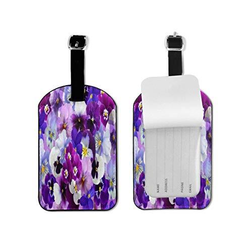 Etiqueta de equipaje floral hermosa flor púrpura etiqueta de identificación de viaje cuero para equipaje maleta para mujeres y hombres 1 pieza